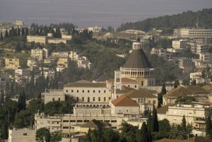 The basilical Church of the Annunciation and the city of Nazareth.