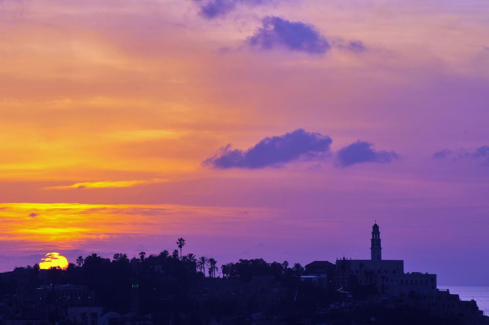 Jaffa skyline during sunset in Tel Aviv Jaffa port, Israel.