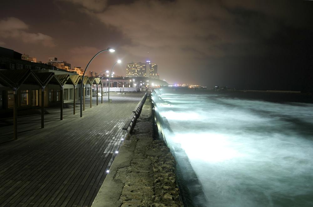 pier by night tel aviv isreal