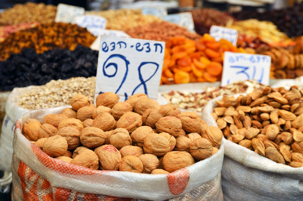 almonds in big bag and dry friuts on the market