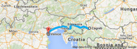 The map of Zagreb to Venice Tour, 14 days / 13 nights