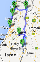 The map of Holy Land Tour, 5 days / 4 nights
