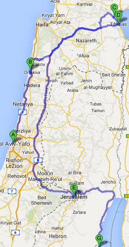 The map of Combined Jewish Tour, 7 days / 6 nights