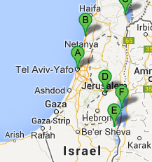 The map of Combined Jewish Tour, 8 days / 7 nights