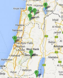 The map of In the Footsteps of Jesus Tour, 8 days/ 7 nights
