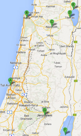 The map of 9 Day Greek Orthodox Tour of the Holy Land