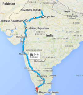 The map of Red Tent India Tour