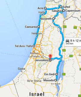The map of Best of Israel Tour