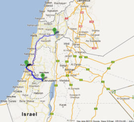 The map of Classic 8 Day / 7 Night Protestant Tour of Israel