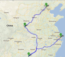 The map of Jewish Heritage Tour of China