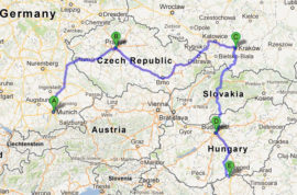 The map of Jewish Heritage Tour of Munich, Prague, Krakow, Budapest and Sobotica