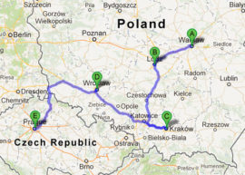 The map of Jewish Heritage Tour of Poland and Prague