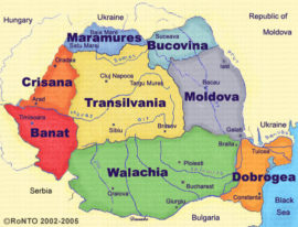 The map of Jewish Heritage Tour of Romania