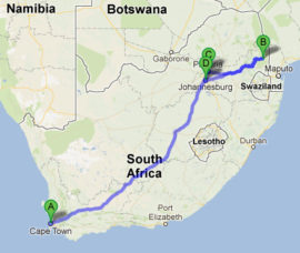 The map of Jewish Heritage Tour of South Africa