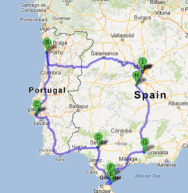 The map of Jewish Heritage Tour of Spain, Portugal and Gibraltar