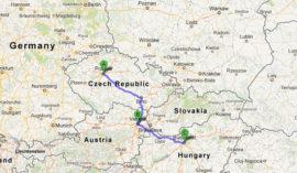 The map of Jewish Heritage Tour of Vienna, Budapest and Prague