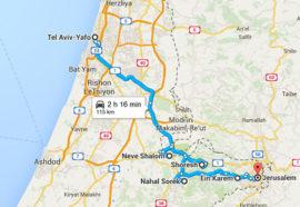 The map of Walking Tour Tel Aviv To Jerusalem