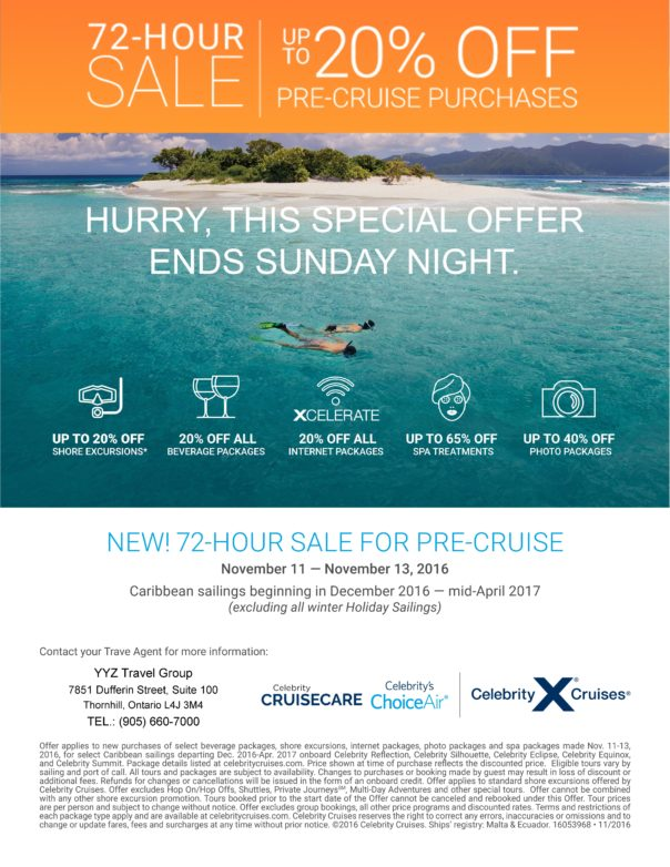 72-HOUR SALE FOR PRE-CRUISE