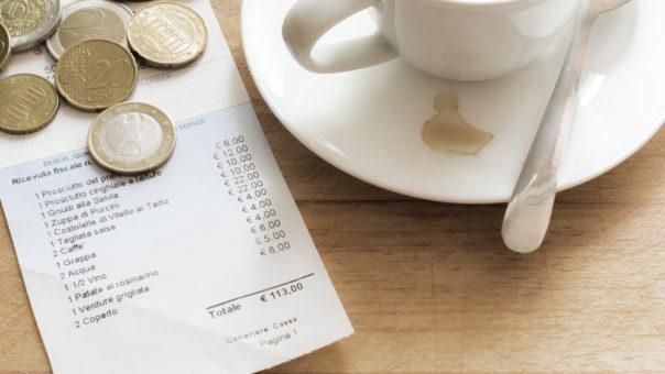 Tipping in Israel. Italian Bill in a Restaurant.