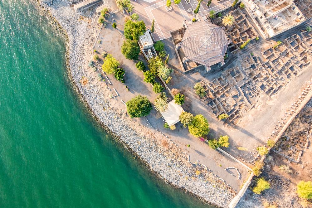Aerial view of Capernaum, Town of Jesus, Galilee, Israel