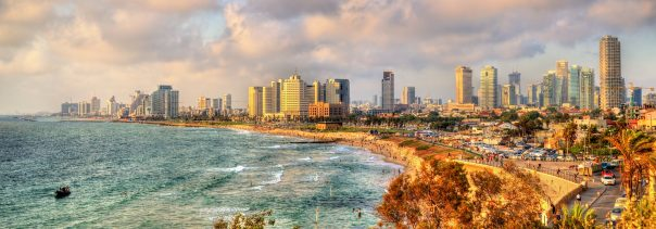 Panorama of the Mediterranean waterfront of Tel Aviv - Israel