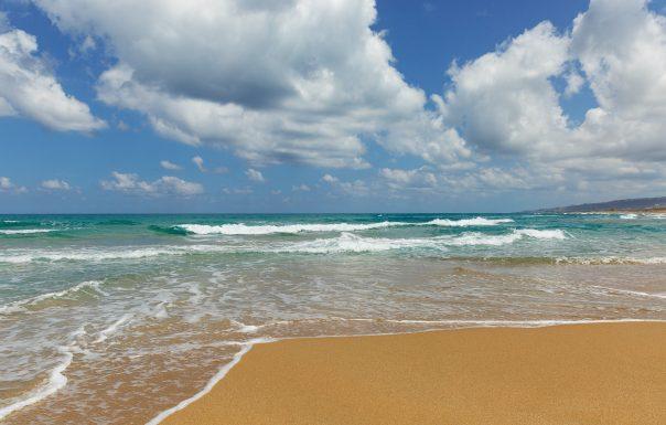 beach on a background of clouds in Haifa