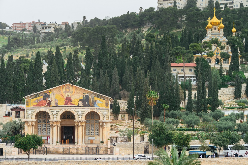 Greek Orthodox Pilgrimage to the Holy Land. The church of All Nations on Olive Mountain in Jerusalem