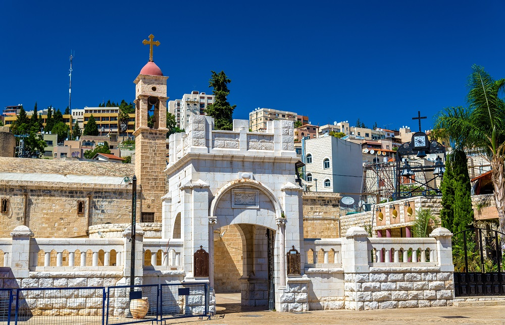 Greek Orthodox Church of the Annunciation in Nazareth. Greek Orthodox Pilgrimage to the Holy Land.