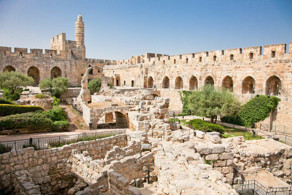 Greek Orthodox Pilgrimage to the Holy Land. Tower of David,Archaeological park, Jerusalem, Israel