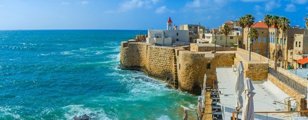Bibleland Tour, 8 days/7 nights. The Akko cityscape with the St John's church, surrounded by sea walls and old residential neighborhood, Israel