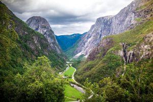 View on Naeroydalen valley from road Stalheim, Norway, Scandinavia – Northern Wonders