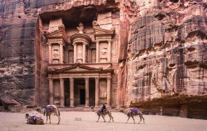 "Pilgrimage tour ""In the Footsteps of Jesus"" to the Holy Land and Jordan. Red rock city Petra"