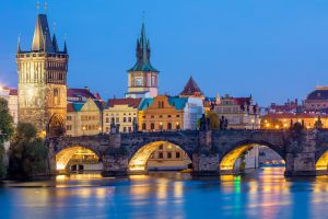 Jewish Heritage in Central Europe, 14 days/13 nights. The Charles Bridge and towers at night time, Prague, Czech Republic. Jewish Heritage in Central Europe