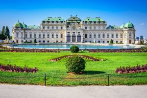 Beautiful view of famous Schloss Belvedere, Vienna, Austria. Jewish Heritage in Central Europe
