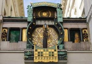Jewish Heritage in Central Europe, 14 days/13 nights. Anker clock on street in Vienna Austria, Jewish Heritage in Central Europe