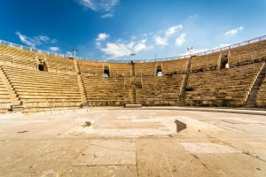 Small Group Deluxe Tours to Israel, 12 days/11 nights. Amphitheater in Caesarea National Park, Small Group Deluxe Tours to Israel