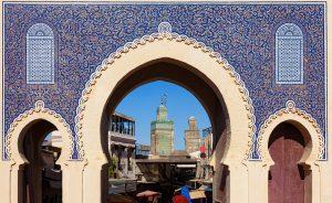 Luxury Jewish Heritage Tour Morocco. Blue Gate in Fes el Bali medina, Morocco, Luxury Jewish Heritage Tour Morocco