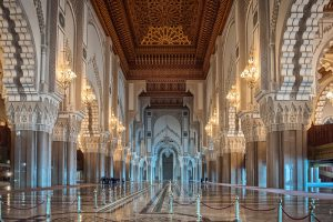 Luxury Jewish Heritage Tour Morocco. Hassan II Mosque interior corridor Casablanca Morocco.