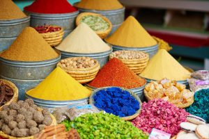 Selection of spices on a traditional Moroccan market.Luxury Jewish Heritage Tour Morocco